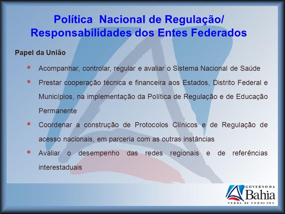 Política Nacional de Regulação/ Responsabilidades dos Entes Federados