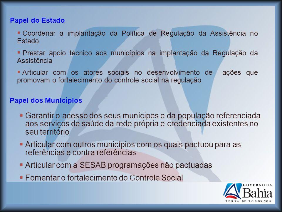 Articular com a SESAB programações não pactuadas