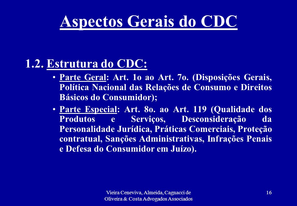 Aspectos Gerais do CDC 1.2. Estrutura do CDC: