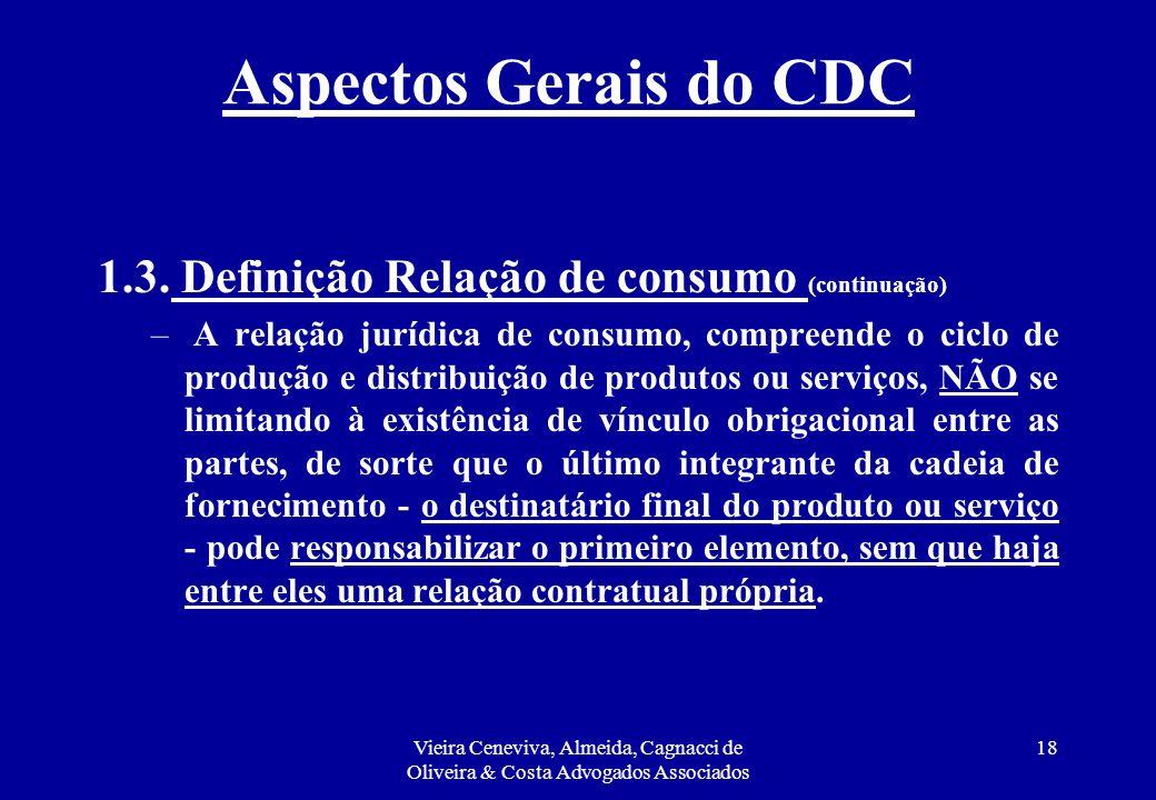 Aspectos Gerais do CDC 1.3. Definição Relação de consumo (continuação)