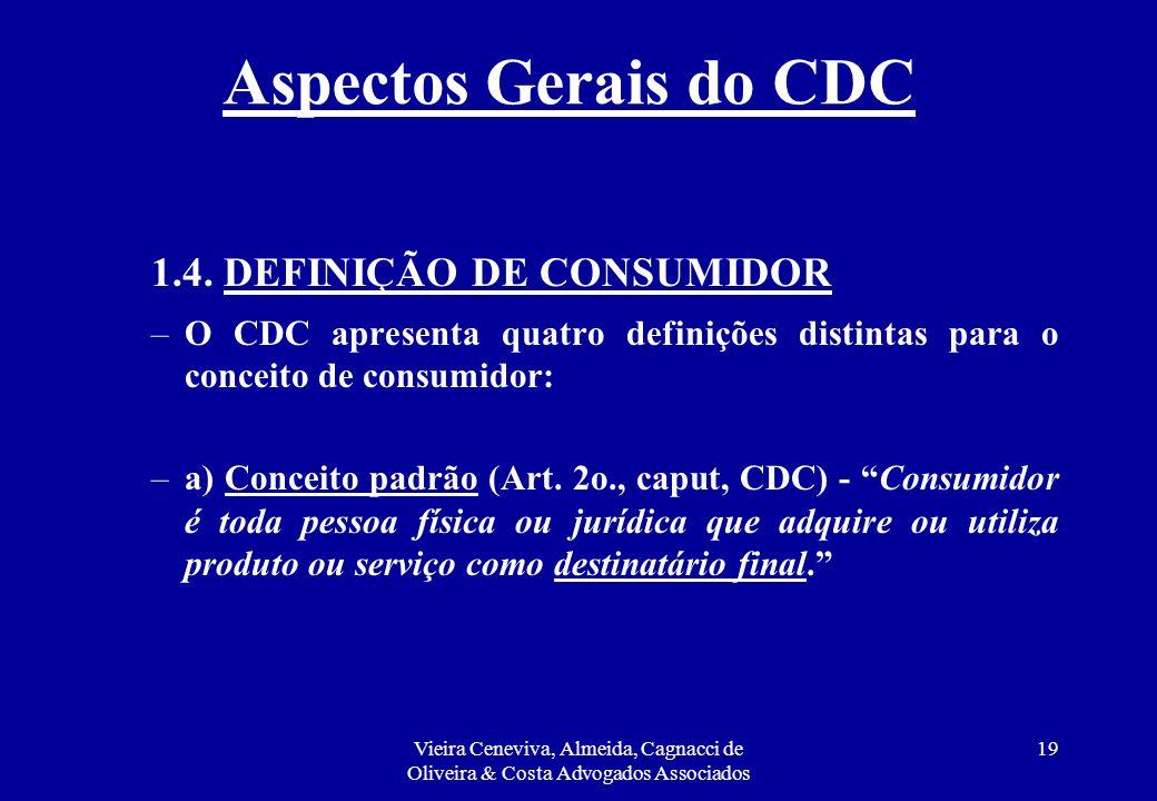 Aspectos Gerais do CDC 1.4. DEFINIÇÃO DE CONSUMIDOR