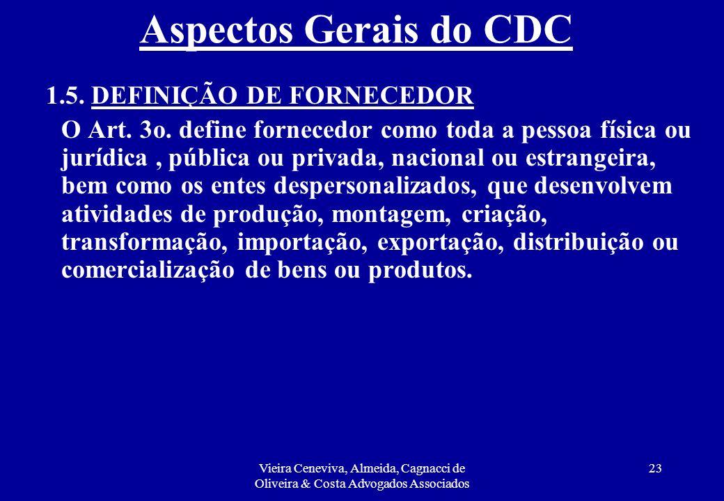 Aspectos Gerais do CDC 1.5. DEFINIÇÃO DE FORNECEDOR.