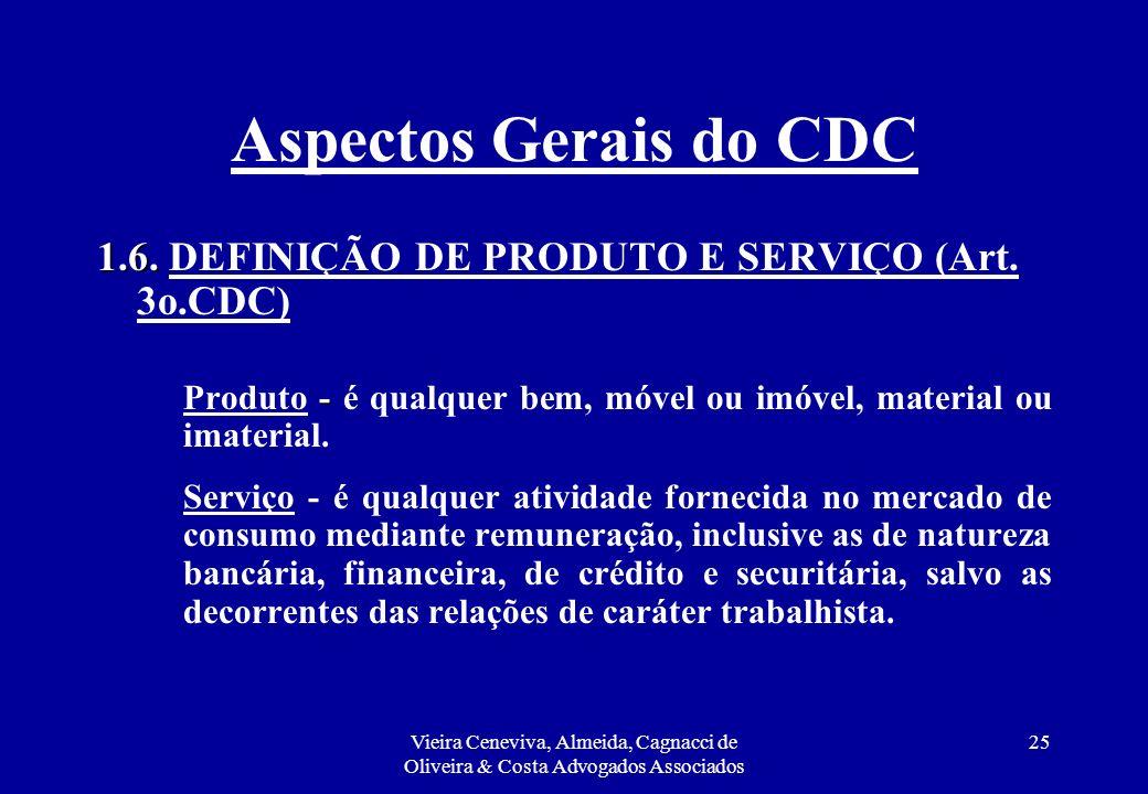 Aspectos Gerais do CDC 1.6. DEFINIÇÃO DE PRODUTO E SERVIÇO (Art. 3o.CDC) Produto - é qualquer bem, móvel ou imóvel, material ou imaterial.