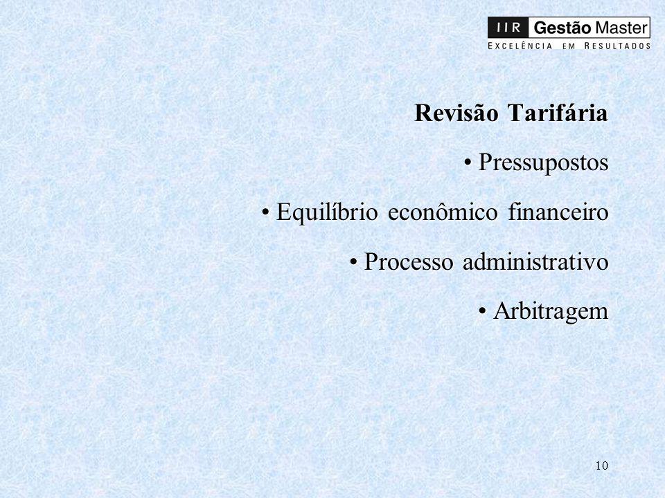 Revisão Tarifária • Pressupostos • Equilíbrio econômico financeiro • Processo administrativo • Arbitragem