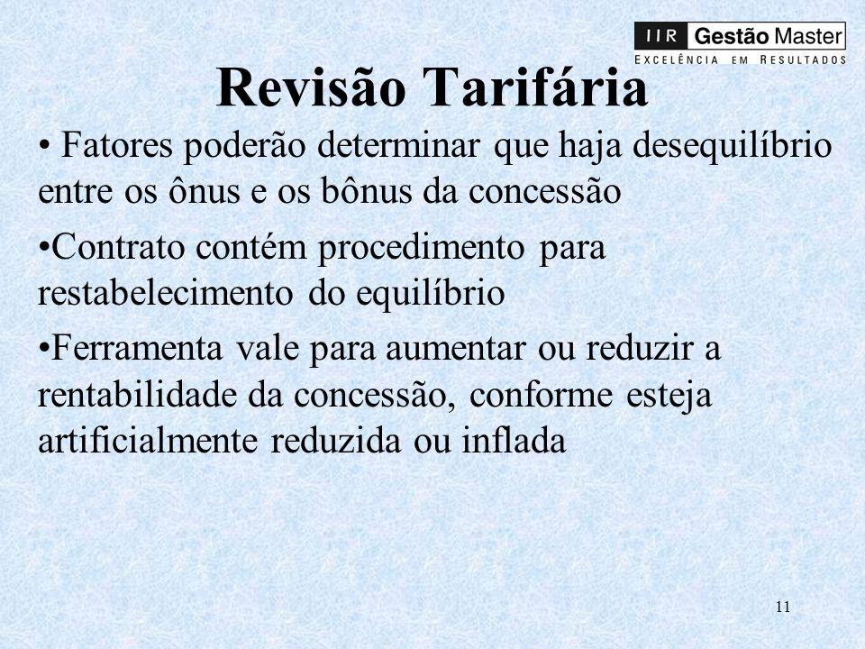 Revisão Tarifária Fatores poderão determinar que haja desequilíbrio entre os ônus e os bônus da concessão.