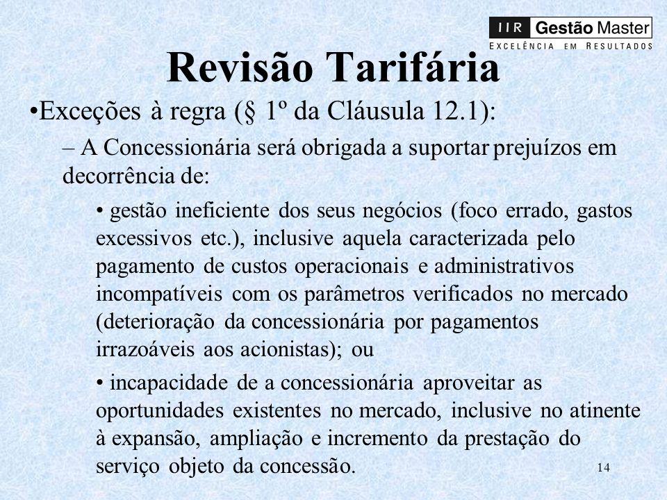 Revisão Tarifária Exceções à regra (§ 1º da Cláusula 12.1):