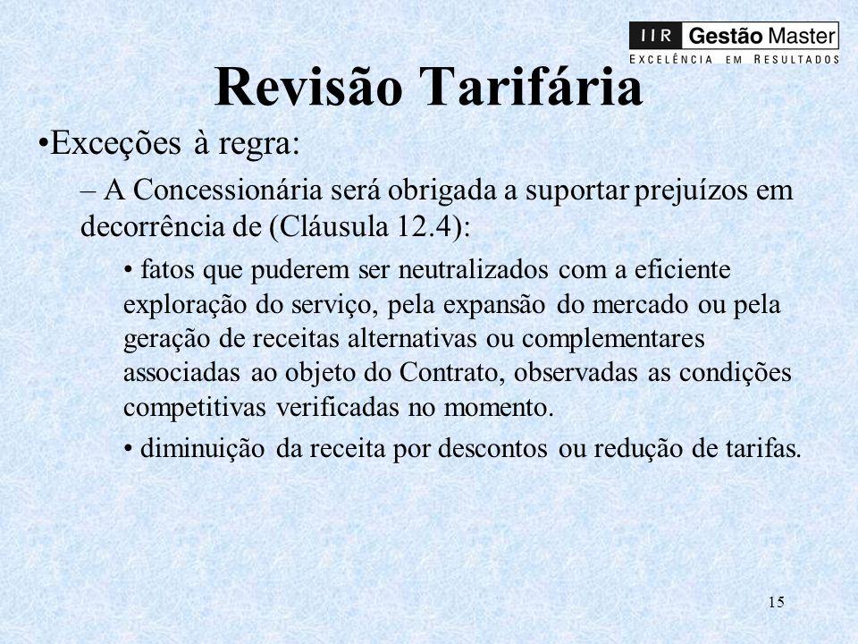 Revisão Tarifária Exceções à regra: