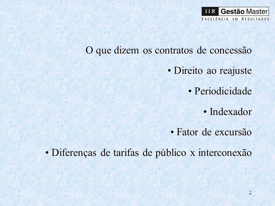 O que dizem os contratos de concessão • Direito ao reajuste • Periodicidade • Indexador • Fator de excursão • Diferenças de tarifas de público x interconexão