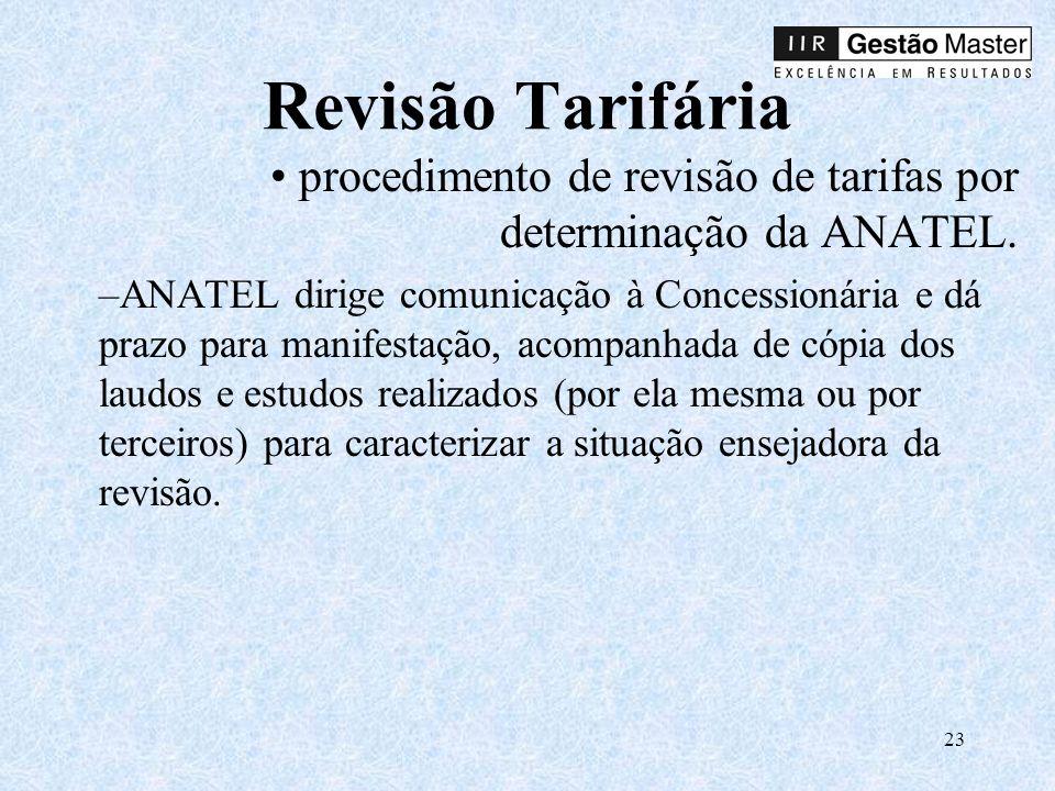 Revisão Tarifária procedimento de revisão de tarifas por determinação da ANATEL.