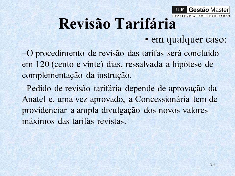 Revisão Tarifária em qualquer caso:
