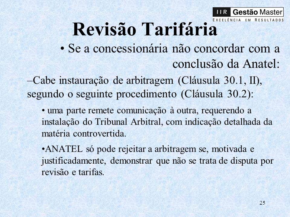 Revisão Tarifária Se a concessionária não concordar com a conclusão da Anatel: