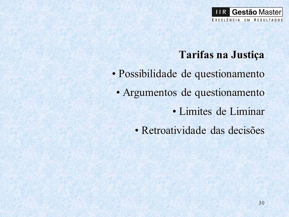 Tarifas na Justiça • Possibilidade de questionamento • Argumentos de questionamento • Limites de Liminar • Retroatividade das decisões