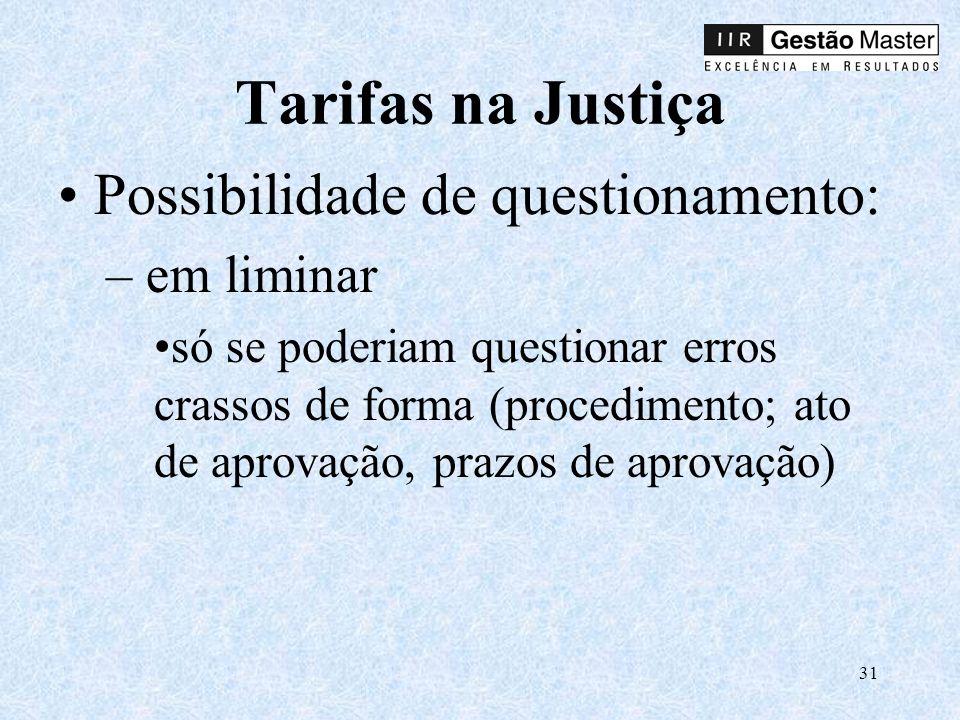 Tarifas na Justiça Possibilidade de questionamento: em liminar