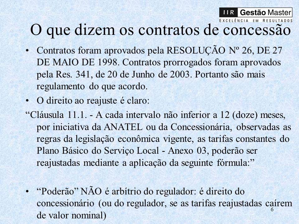 O que dizem os contratos de concessão