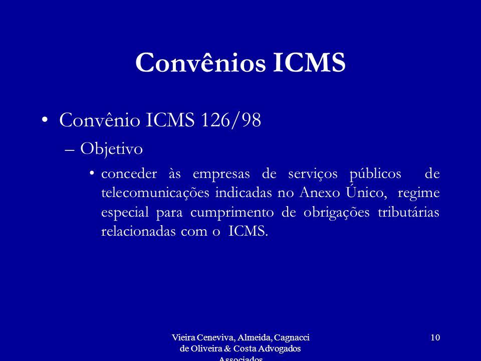 Convênios ICMS Convênio ICMS 126/98 Objetivo