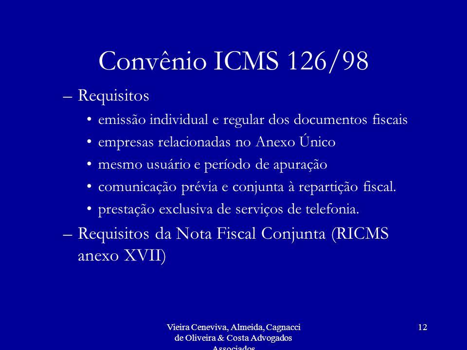 Convênio ICMS 126/98 Requisitos