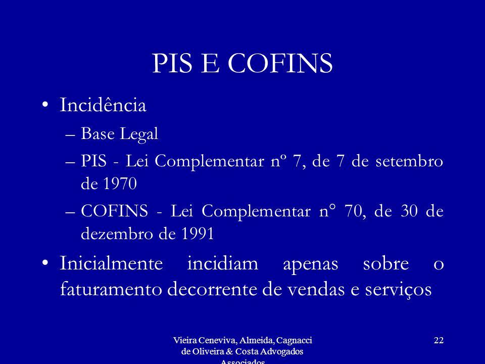 PIS E COFINS Incidência