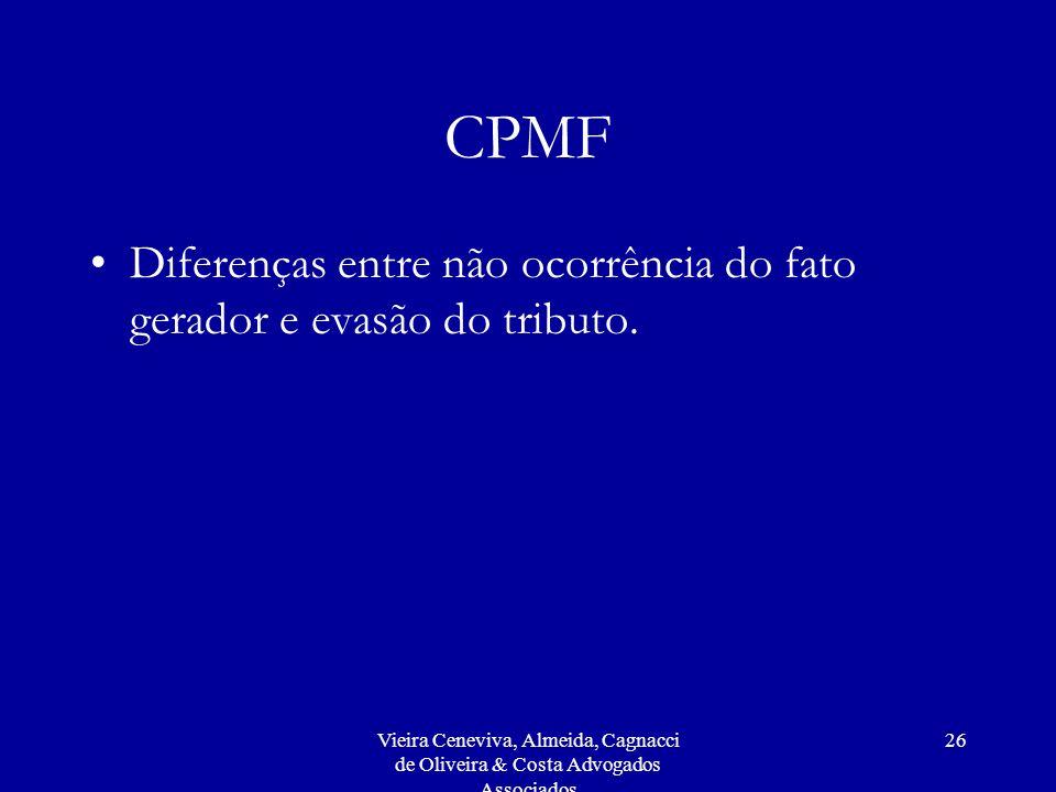 CPMF Diferenças entre não ocorrência do fato gerador e evasão do tributo.