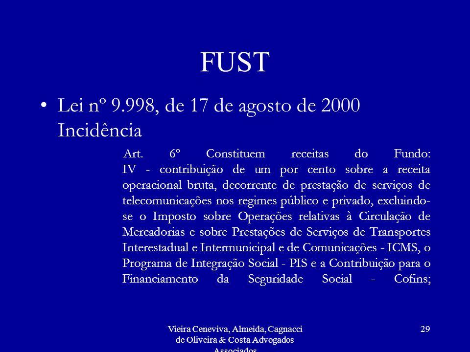FUST Lei nº 9.998, de 17 de agosto de 2000 Incidência