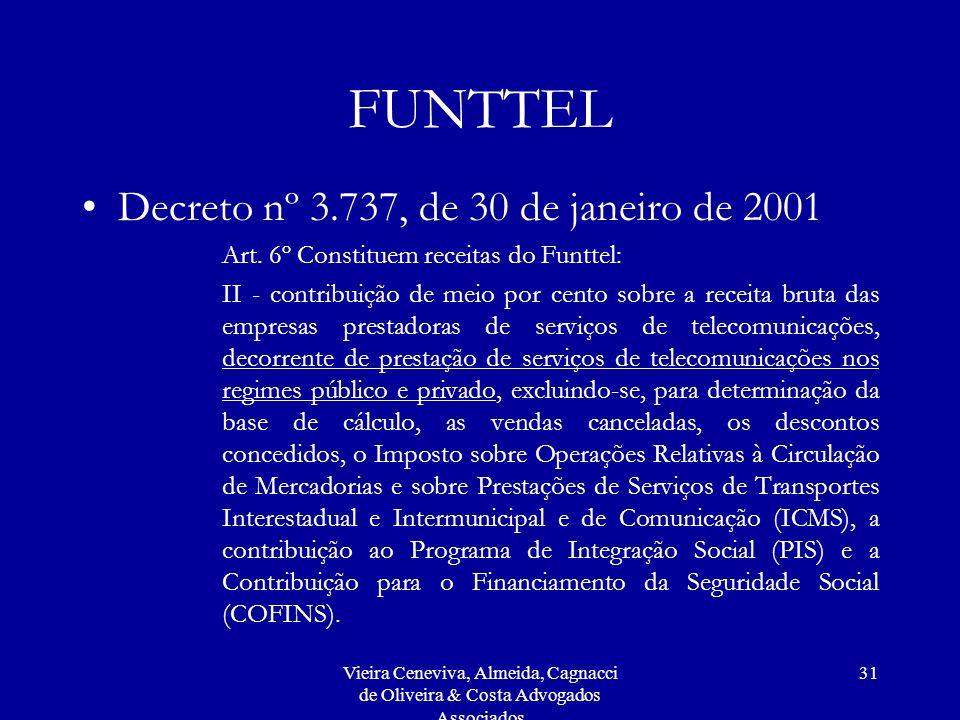 FUNTTEL Decreto nº 3.737, de 30 de janeiro de 2001