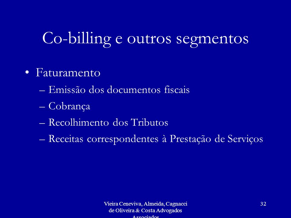 Co-billing e outros segmentos