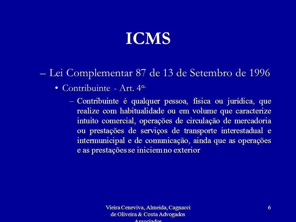 ICMS Lei Complementar 87 de 13 de Setembro de 1996