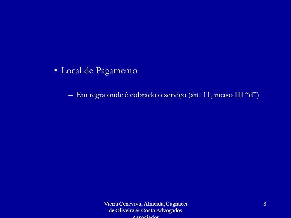 Local de Pagamento Em regra onde é cobrado o serviço (art. 11, inciso III d )