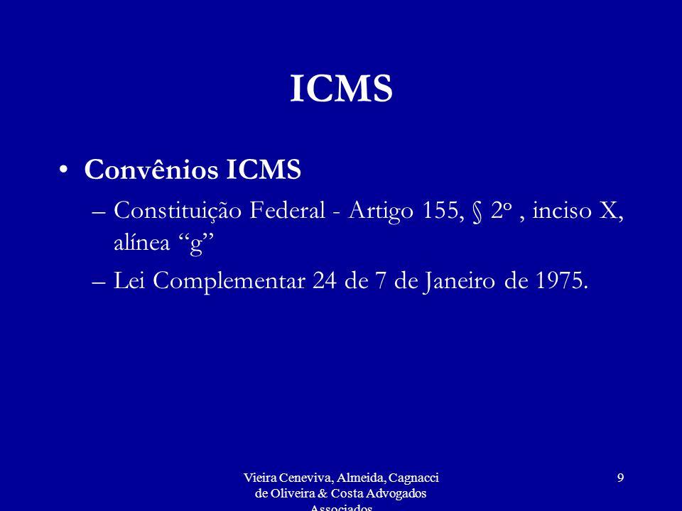 ICMS Convênios ICMS. Constituição Federal - Artigo 155, § 2o , inciso X, alínea g Lei Complementar 24 de 7 de Janeiro de 1975.