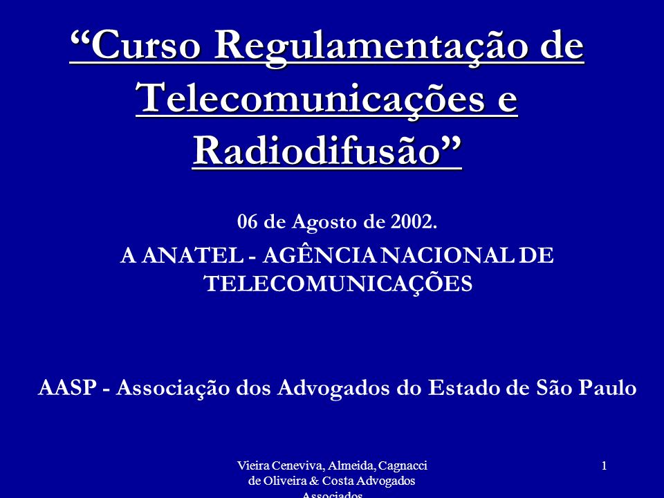 Curso Regulamentação de Telecomunicações e Radiodifusão