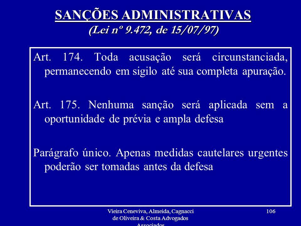 SANÇÕES ADMINISTRATIVAS (Lei nº 9.472, de 15/07/97)
