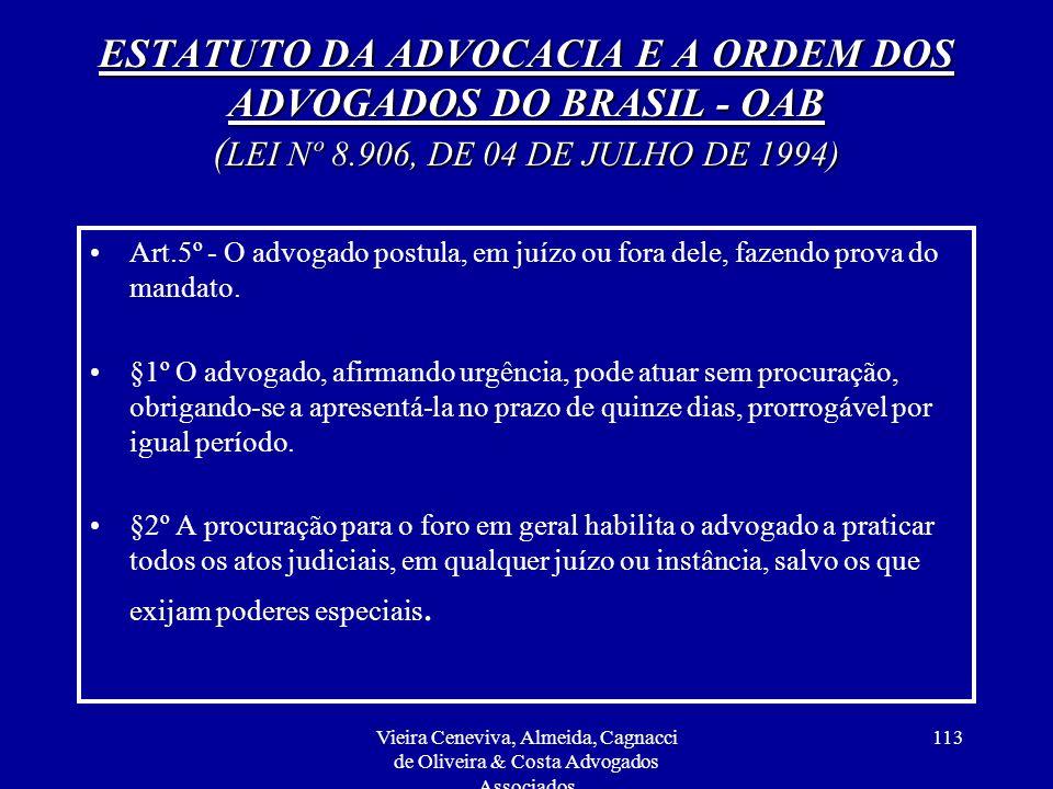 ESTATUTO DA ADVOCACIA E A ORDEM DOS ADVOGADOS DO BRASIL - OAB (LEI Nº 8.906, DE 04 DE JULHO DE 1994)