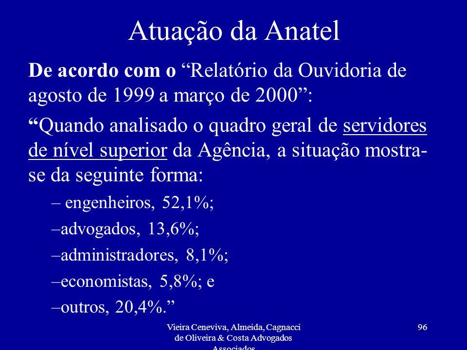 Atuação da Anatel De acordo com o Relatório da Ouvidoria de agosto de 1999 a março de 2000 :