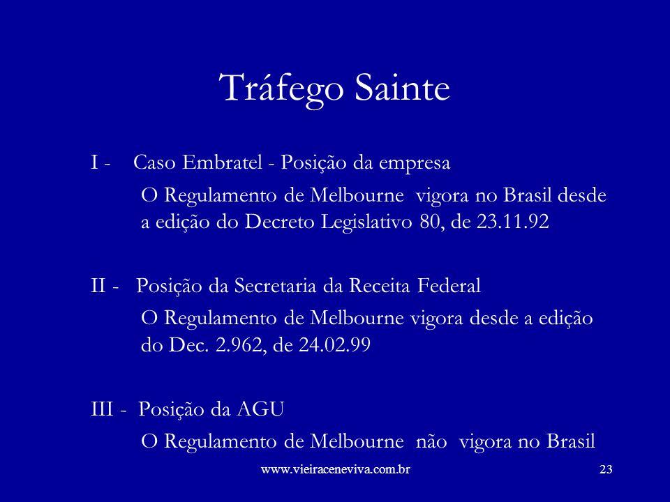 Tráfego Sainte I - Caso Embratel - Posição da empresa