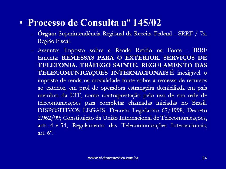 Processo de Consulta nº 145/02