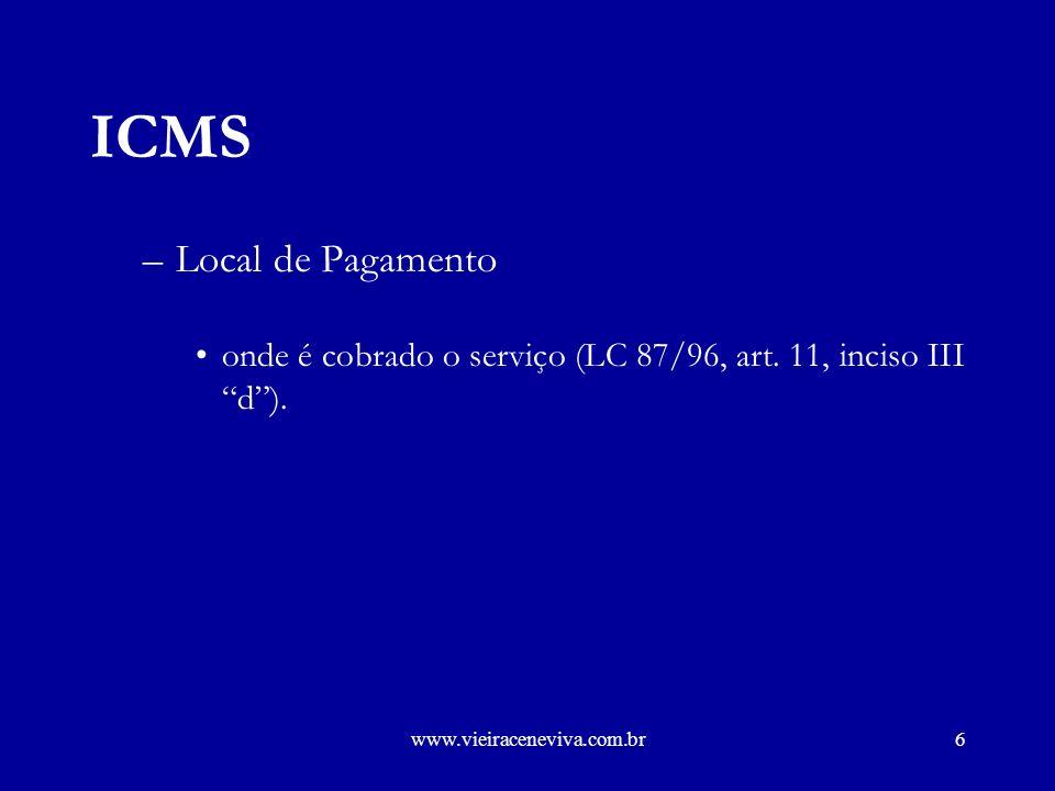 ICMS Local de Pagamento