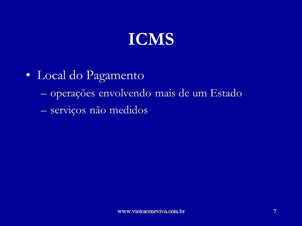 ICMS Local do Pagamento operações envolvendo mais de um Estado