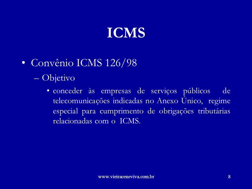 ICMS Convênio ICMS 126/98 Objetivo