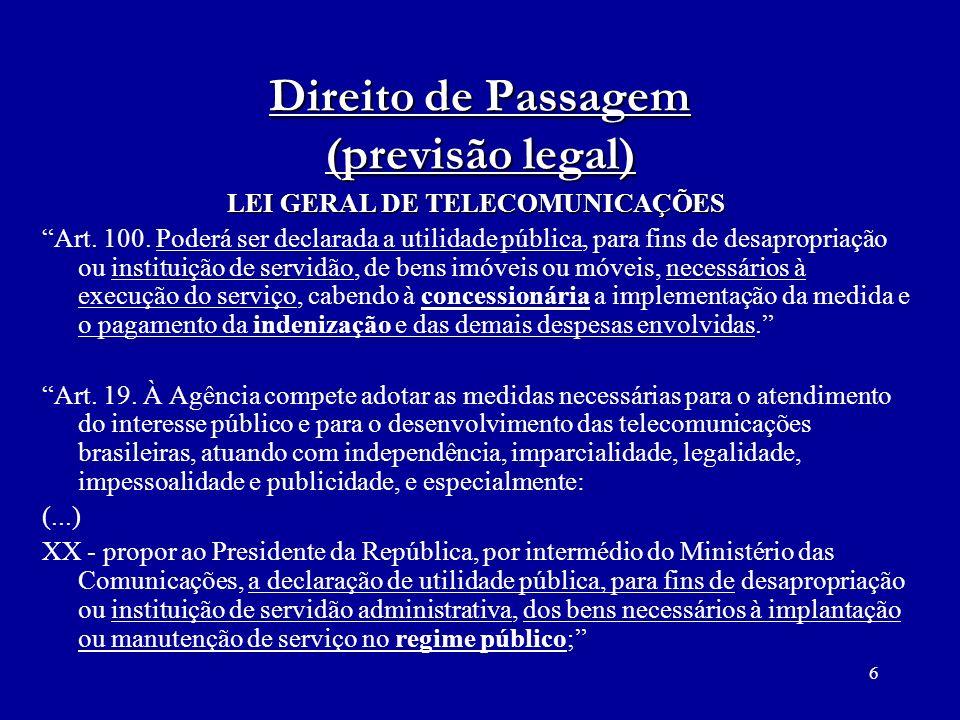 Direito de Passagem (previsão legal)