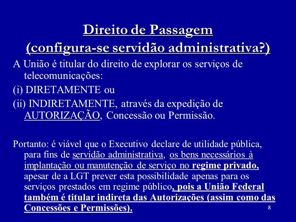 Direito de Passagem (configura-se servidão administrativa )