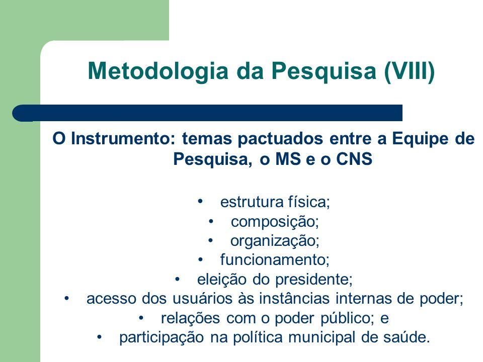 Metodologia da Pesquisa (VIII)