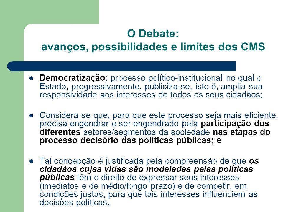O Debate: avanços, possibilidades e limites dos CMS