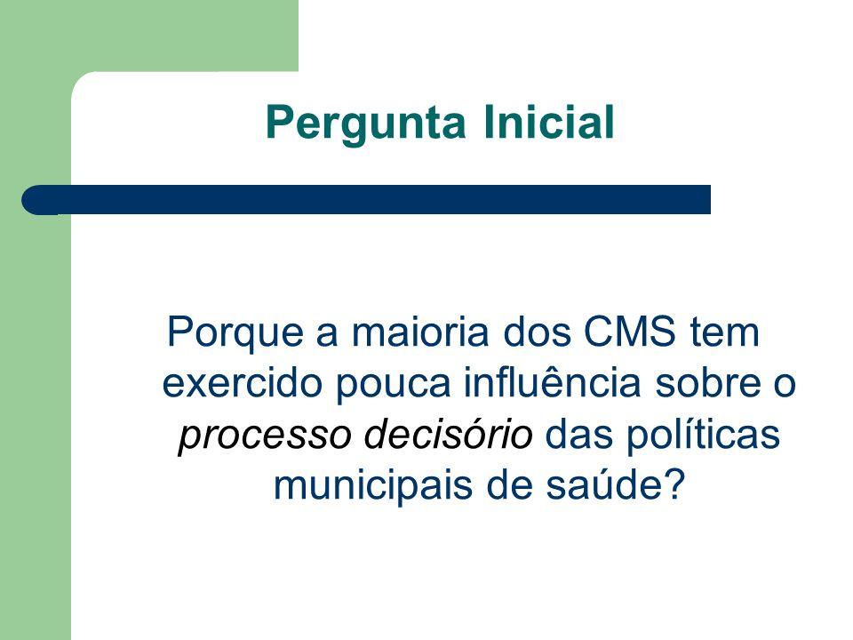 Pergunta Inicial Porque a maioria dos CMS tem exercido pouca influência sobre o processo decisório das políticas municipais de saúde