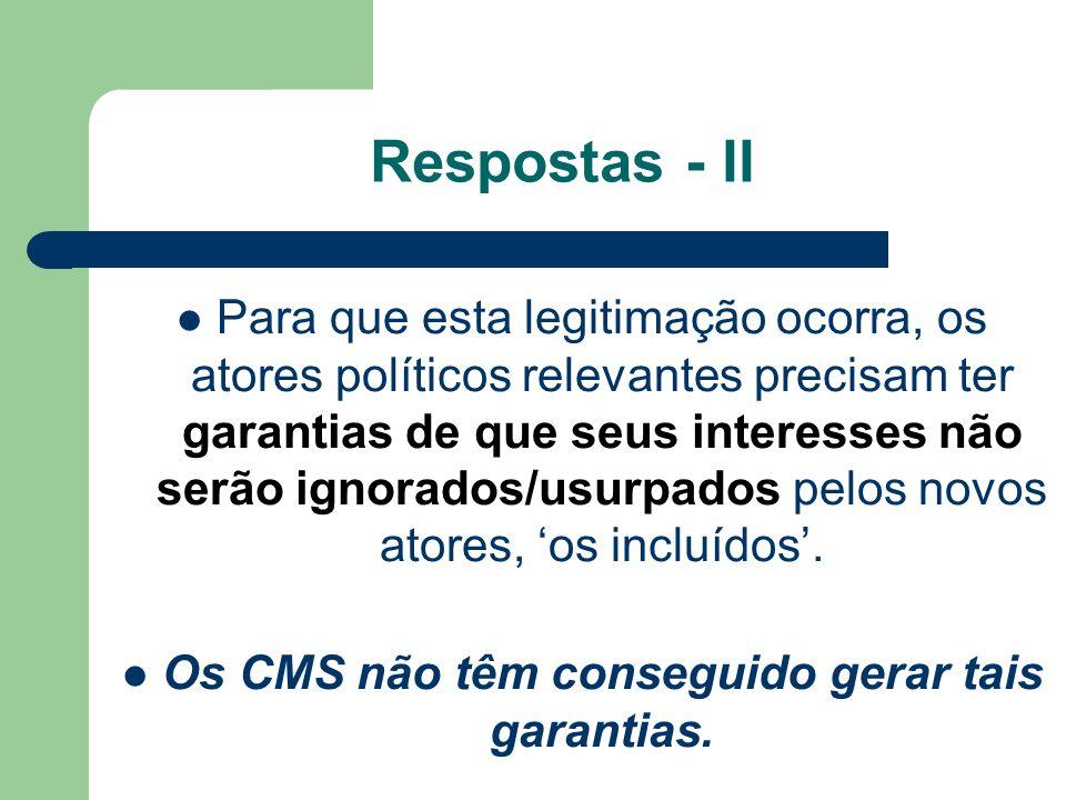 Os CMS não têm conseguido gerar tais garantias.