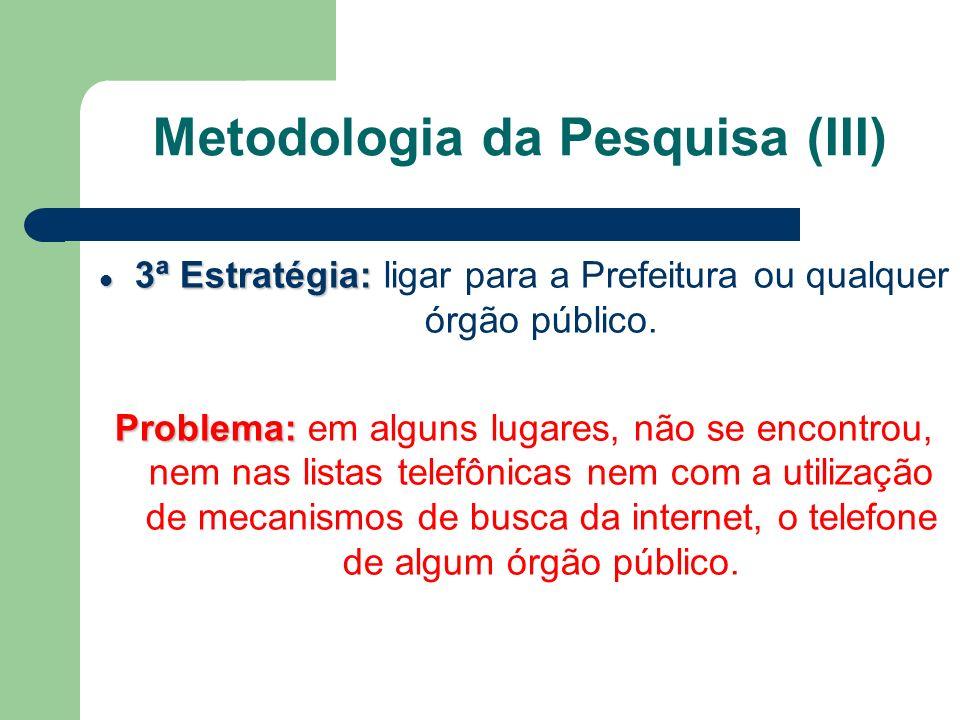 Metodologia da Pesquisa (III)