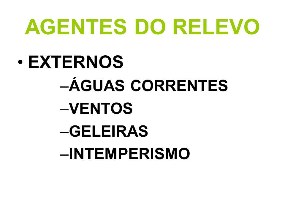 AGENTES DO RELEVO EXTERNOS ÁGUAS CORRENTES VENTOS GELEIRAS