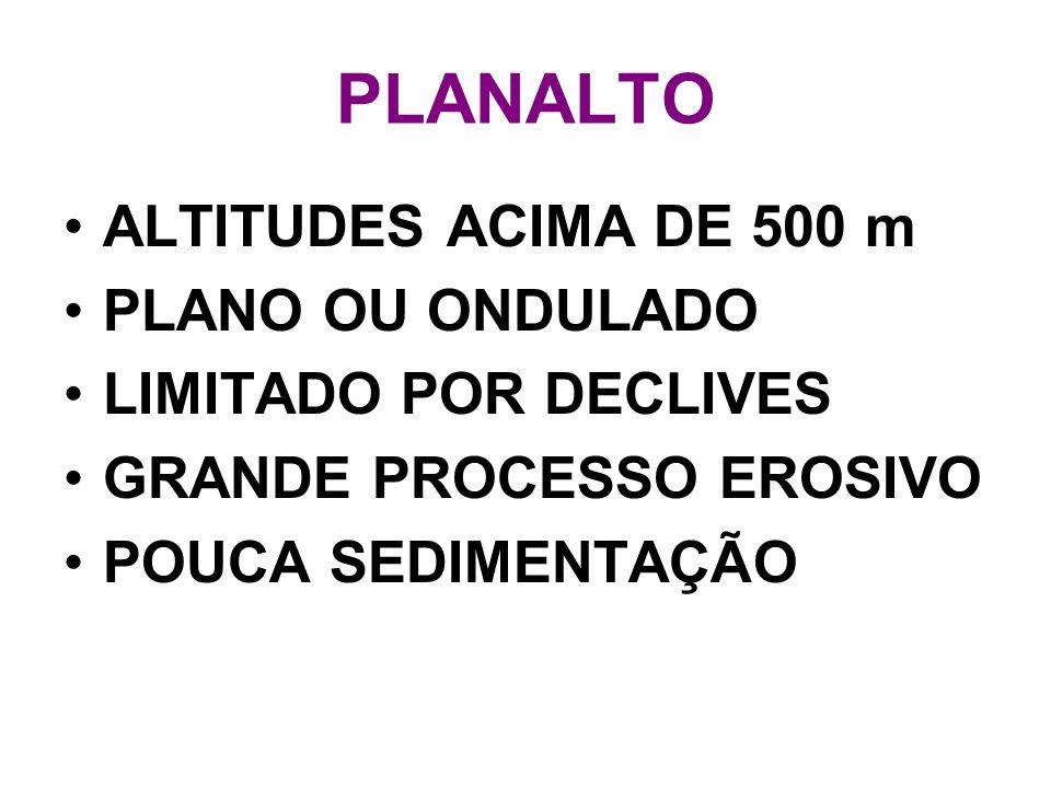PLANALTO ALTITUDES ACIMA DE 500 m PLANO OU ONDULADO