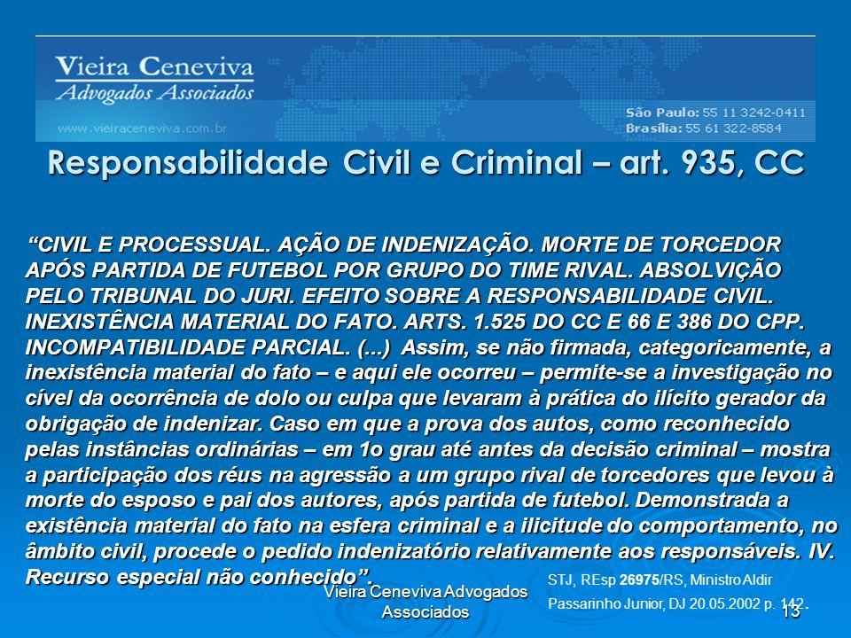 Responsabilidade Civil e Criminal – art. 935, CC