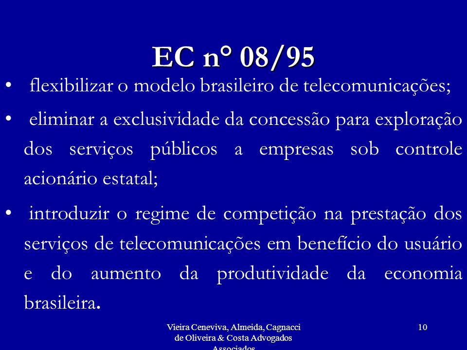 EC n° 08/95 flexibilizar o modelo brasileiro de telecomunicações;