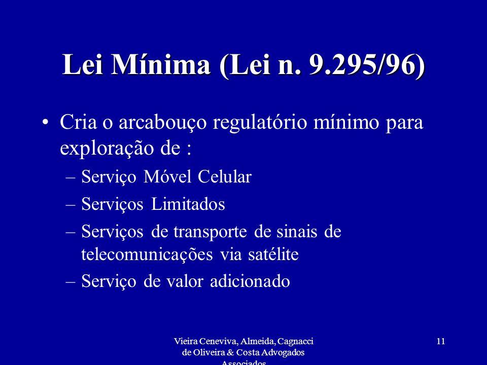 Lei Mínima (Lei n. 9.295/96) Cria o arcabouço regulatório mínimo para exploração de : Serviço Móvel Celular.