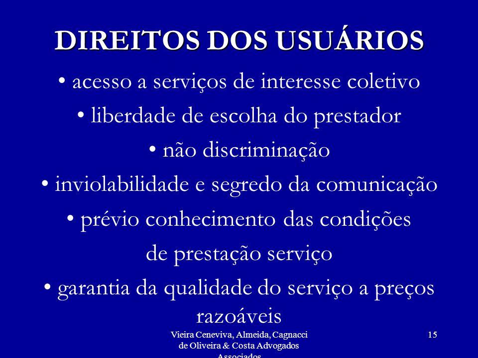 DIREITOS DOS USUÁRIOS acesso a serviços de interesse coletivo